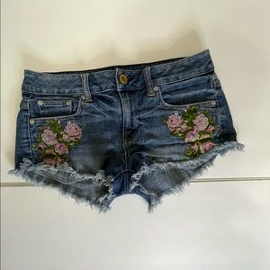 American Eagle Outfitters embroidered Jean shorts